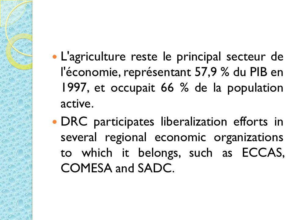 L'agriculture reste le principal secteur de l'économie, représentant 57,9 % du PIB en 1997, et occupait 66 % de la population active. DRC participates