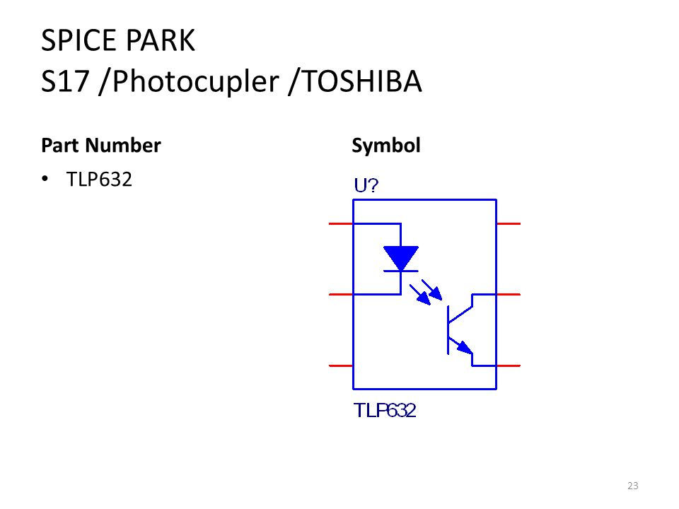 SPICE PARK S17 /Photocupler /TOSHIBA Part Number TLP632 Symbol 23