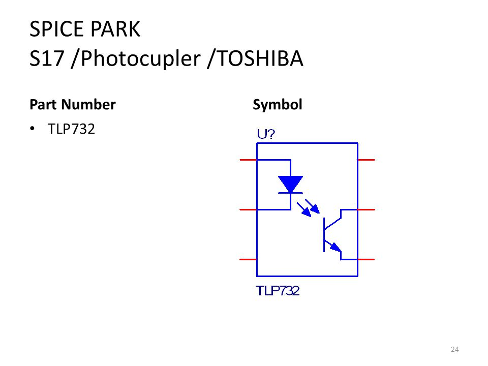 SPICE PARK S17 /Photocupler /TOSHIBA Part Number TLP732 Symbol 24