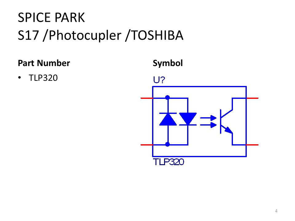 SPICE PARK S17 /Photocupler /TOSHIBA Part Number TLP320 Symbol 4