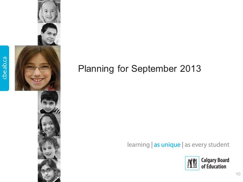 Planning for September 2013 10