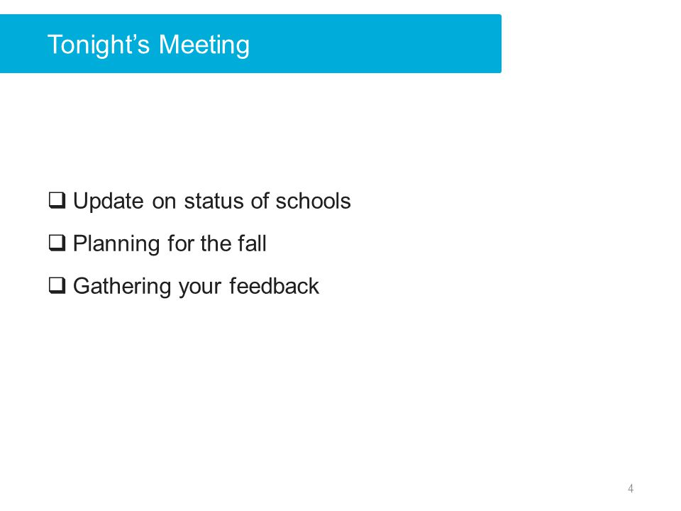 Tonights Meeting Update on status of schools Planning for the fall Gathering your feedback 4