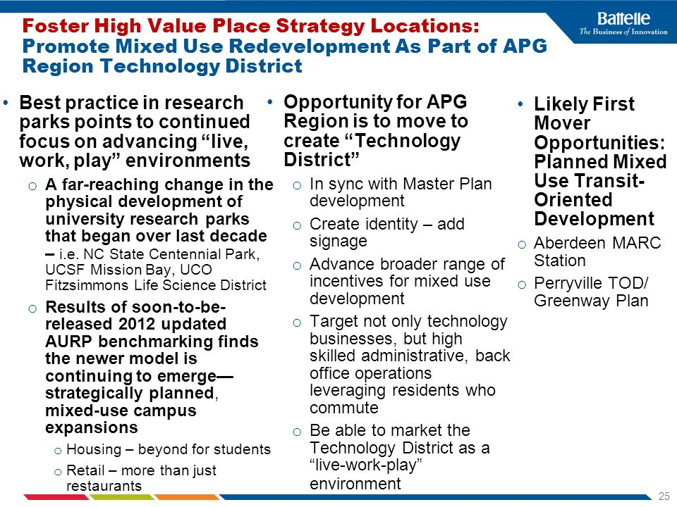 25 Foster High Value Place Strategy Locations: Promote Mixed Use Redevelopment As Part of APG Region Technology District Best practice in research parks points to continued focus on advancing live, work, play environments o A far-reaching change in the physical development of university research parks that began over last decade – i.e.