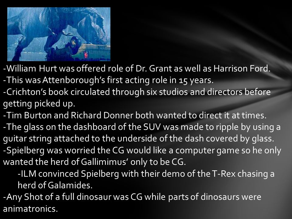 -William Hurt was offered role of Dr. Grant as well as Harrison Ford.
