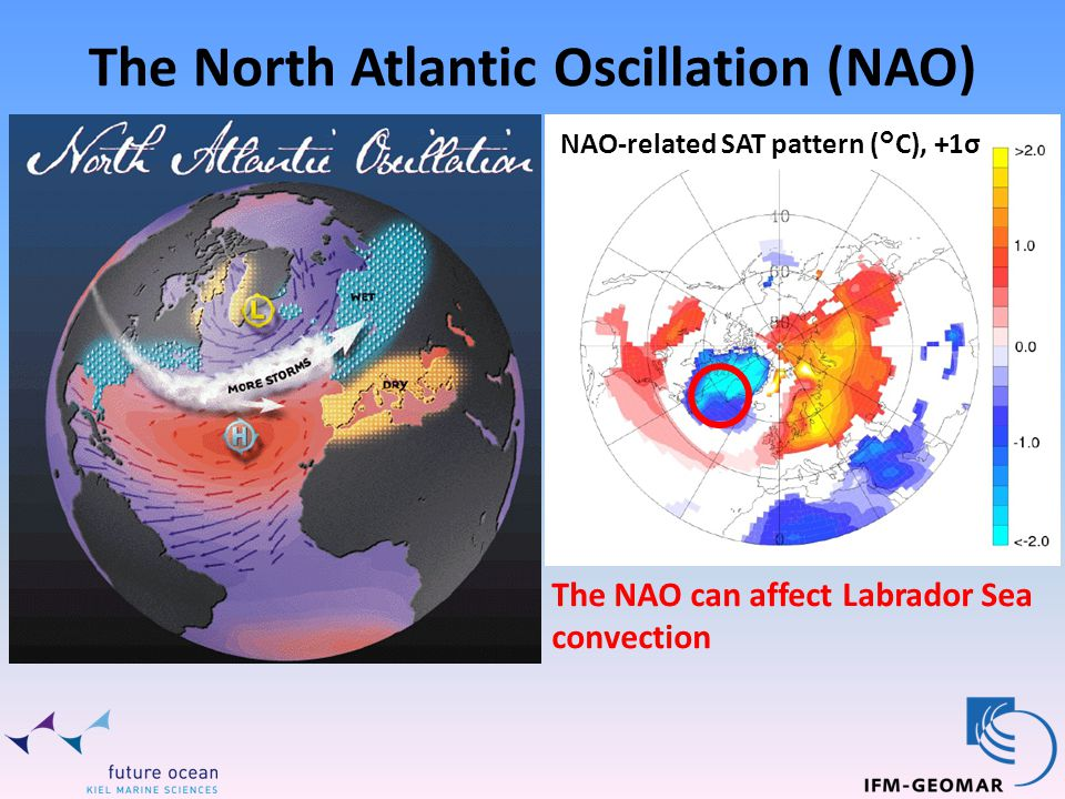 The North Atlantic Oscillation (NAO) NAO-related SAT pattern (°C), +1σ The NAO can affect Labrador Sea convection