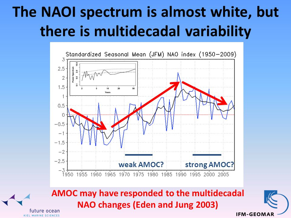 The NAOI spectrum is almost white, but there is multidecadal variability AMOC may have responded to the multidecadal NAO changes (Eden and Jung 2003) weak AMOC strong AMOC