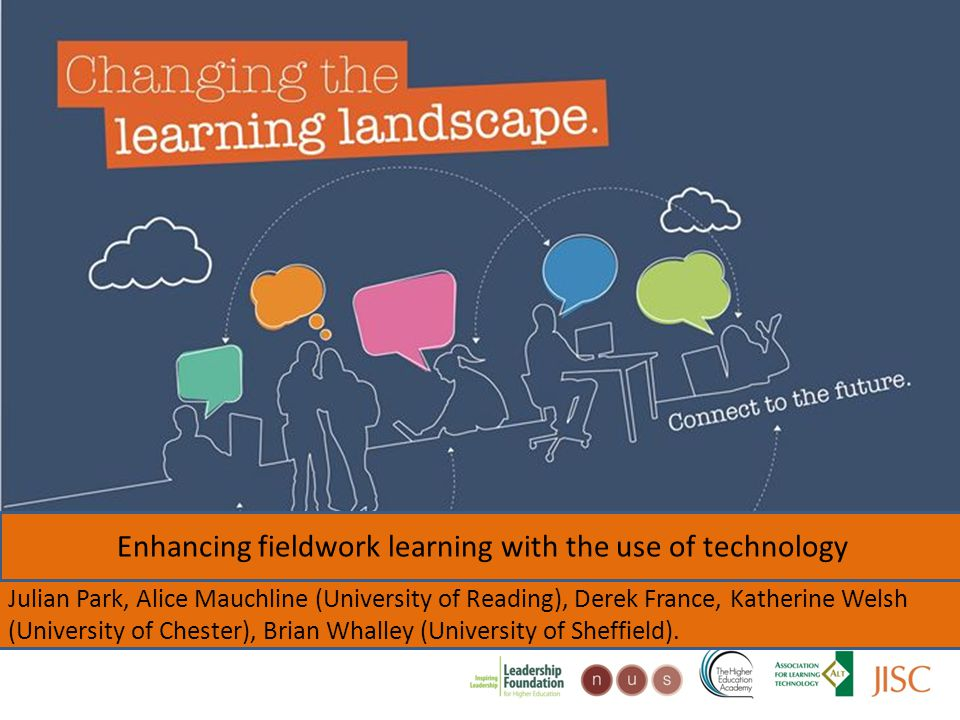 Changing the learning landscape Enhancing fieldwork learning with the use of technology Julian Park, Alice Mauchline (University of Reading), Derek France, Katherine Welsh (University of Chester), Brian Whalley (University of Sheffield).