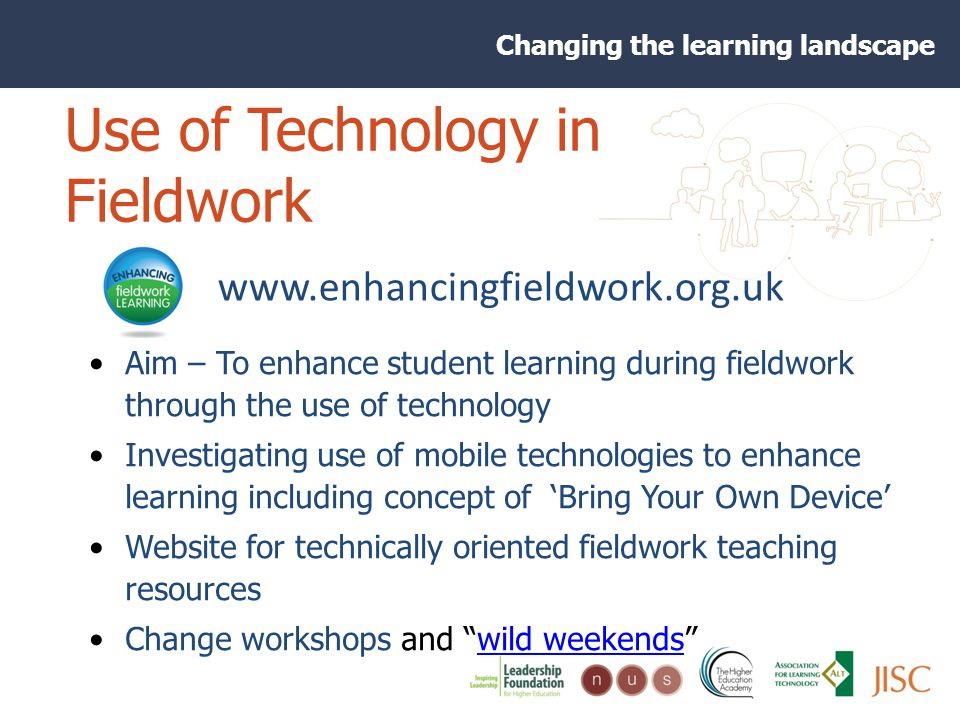 Changing the learning landscape Use of Technology in Fieldwork Aim – To enhance student learning during fieldwork through the use of technology Investigating use of mobile technologies to enhance learning including concept of Bring Your Own Device Website for technically oriented fieldwork teaching resources Change workshops and wild weekendswild weekends www.enhancingfieldwork.org.uk