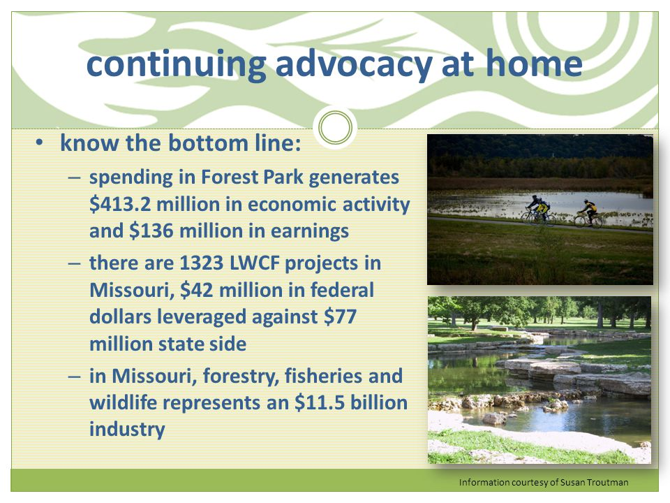 continuing advocacy at home know the bottom line: – spending in Forest Park generates $413.2 million in economic activity and $136 million in earnings