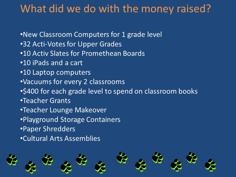 What did we do with the money raised? New Classroom Computers for 1 grade level 32 Acti-Votes for Upper Grades 10 Activ Slates for Promethean Boards 1