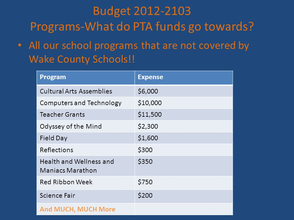 Budget 2012-2103 Programs-What do PTA funds go towards.