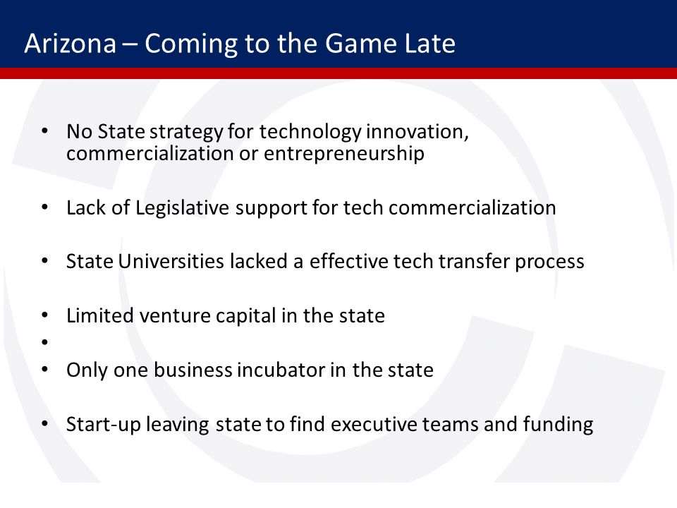 Arizona – Coming to the Game Late No State strategy for technology innovation, commercialization or entrepreneurship Lack of Legislative support for tech commercialization State Universities lacked a effective tech transfer process Limited venture capital in the state Only one business incubator in the state Start-up leaving state to find executive teams and funding