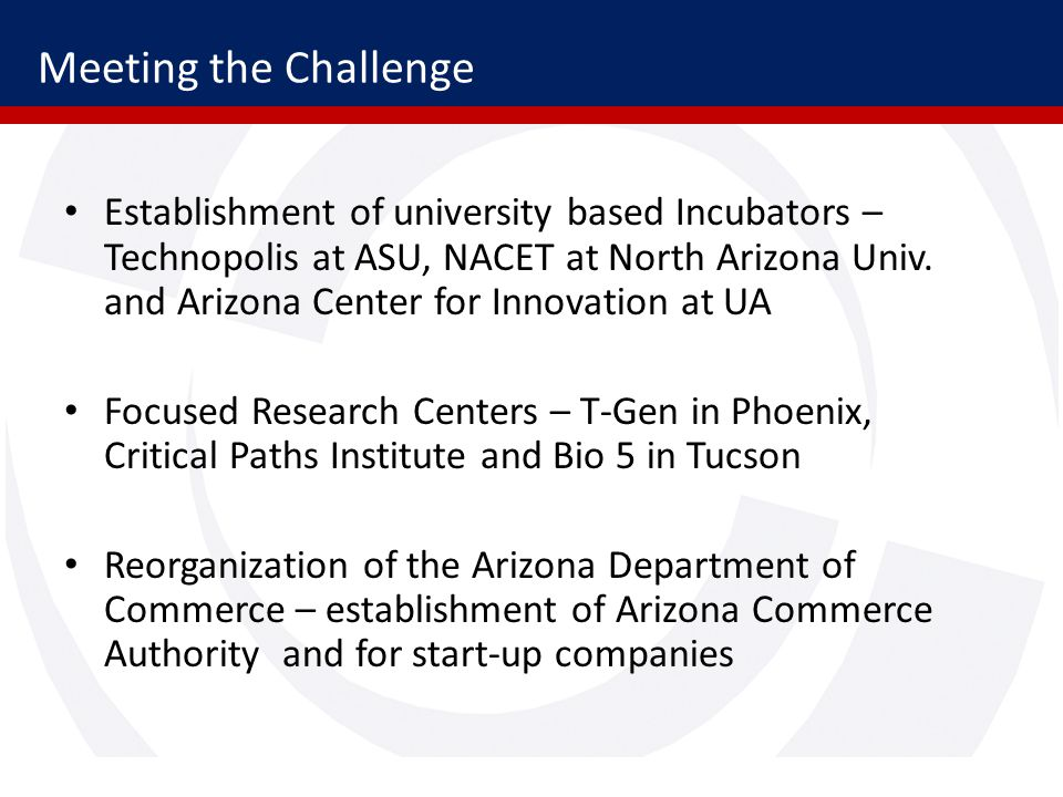Meeting the Challenge Establishment of university based Incubators – Technopolis at ASU, NACET at North Arizona Univ.