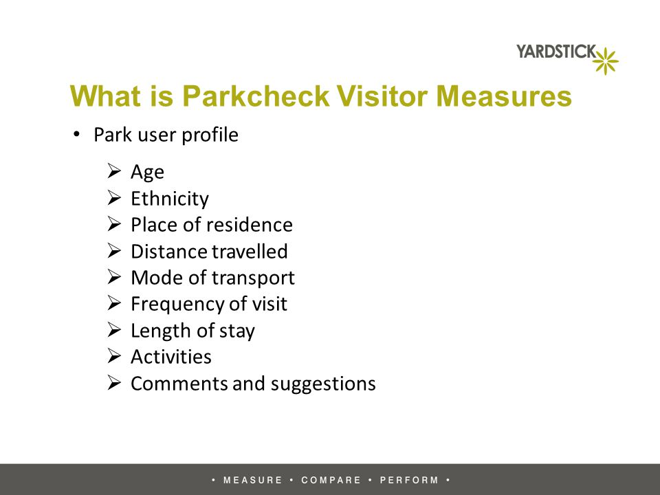 What is Parkcheck Visitor Measures Park user profile Age Ethnicity Place of residence Distance travelled Mode of transport Frequency of visit Length of stay Activities Comments and suggestions