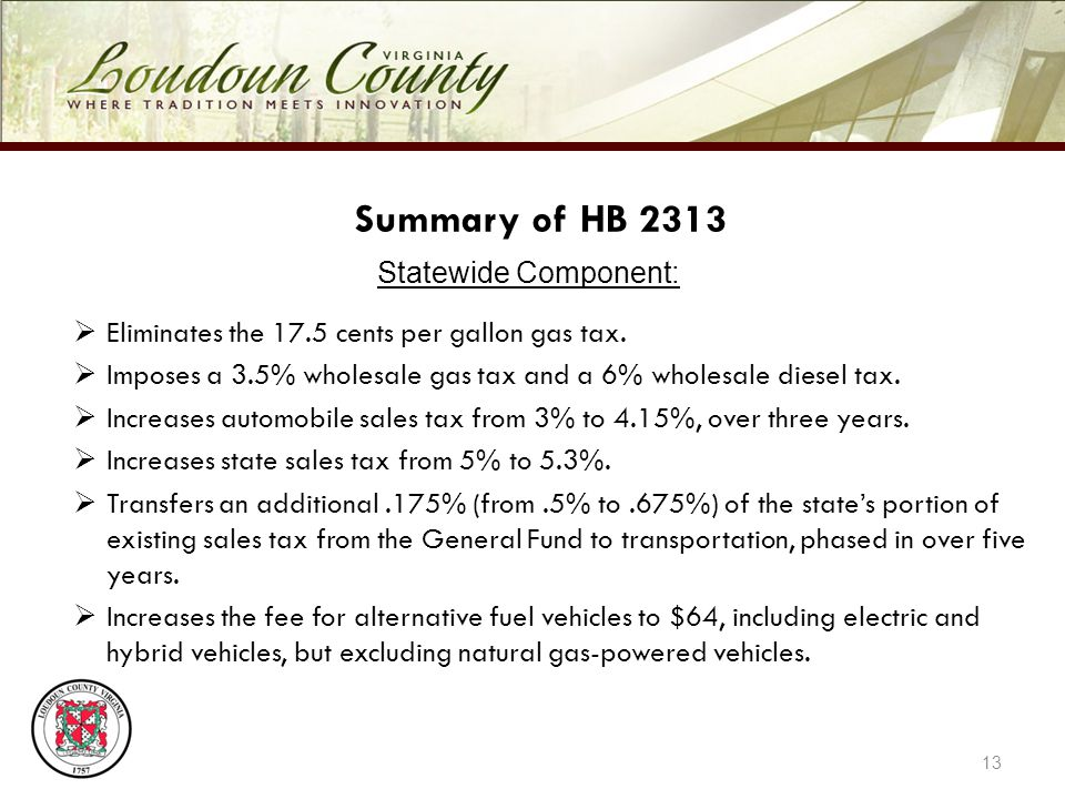 13 Summary of HB 2313 Statewide Component: Eliminates the 17.5 cents per gallon gas tax.