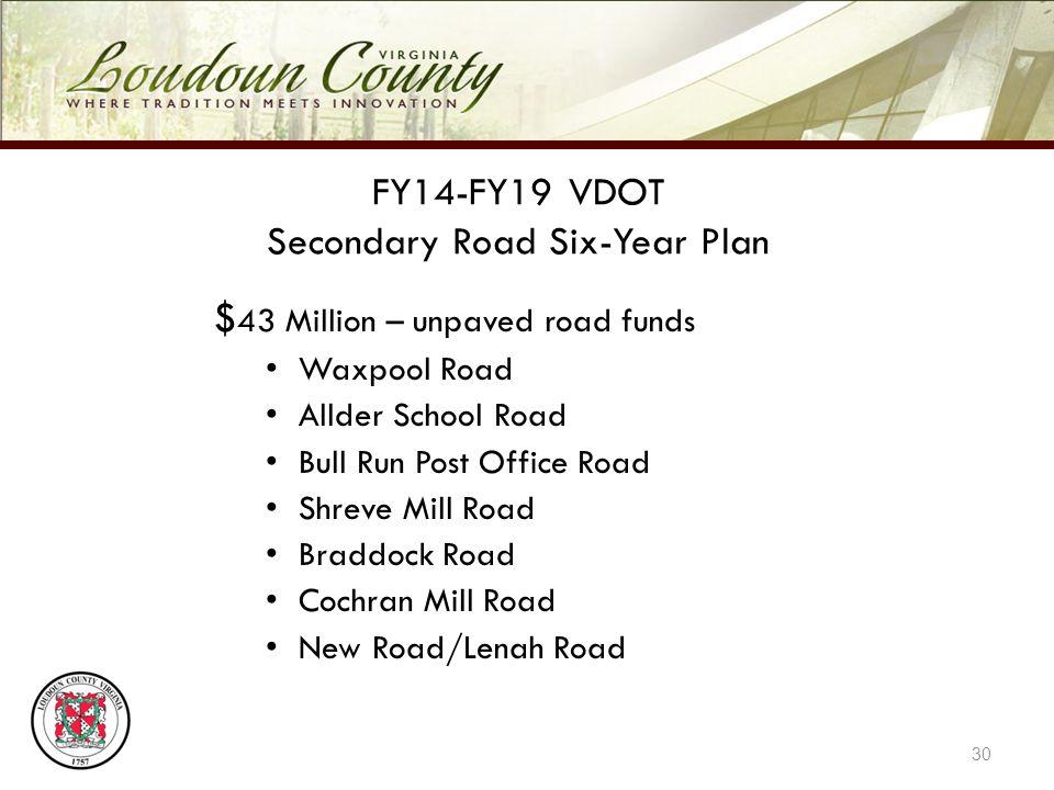 FY14-FY19 VDOT Secondary Road Six-Year Plan $ 43 Million – unpaved road funds Waxpool Road Allder School Road Bull Run Post Office Road Shreve Mill Road Braddock Road Cochran Mill Road New Road/Lenah Road 30