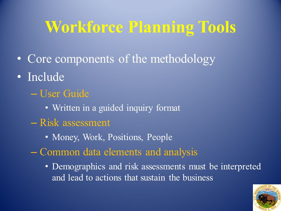 Workforce Planning Tools Core components of the methodology Include – User Guide Written in a guided inquiry format – Risk assessment Money, Work, Pos