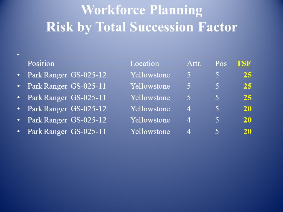 Workforce Planning Risk by Total Succession Factor _______________________________________________________________________ Position Location Attr.Pos