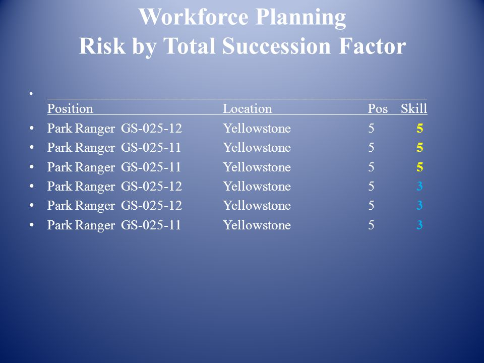 Workforce Planning Risk by Total Succession Factor _______________________________________________________________________ Position Location Pos Skill