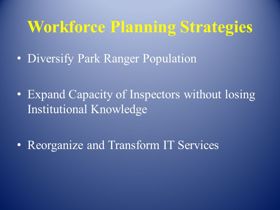 Workforce Planning Strategies Diversify Park Ranger Population Expand Capacity of Inspectors without losing Institutional Knowledge Reorganize and Tra