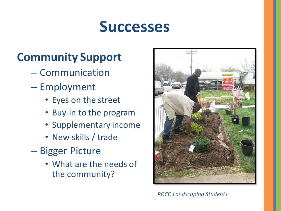 Successes Community Support – Communication – Employment Eyes on the street Buy-in to the program Supplementary income New skills / trade – Bigger Pic