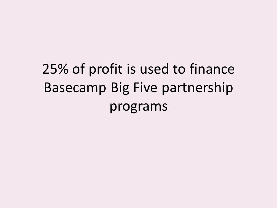 25% of profit is used to finance Basecamp Big Five partnership programs