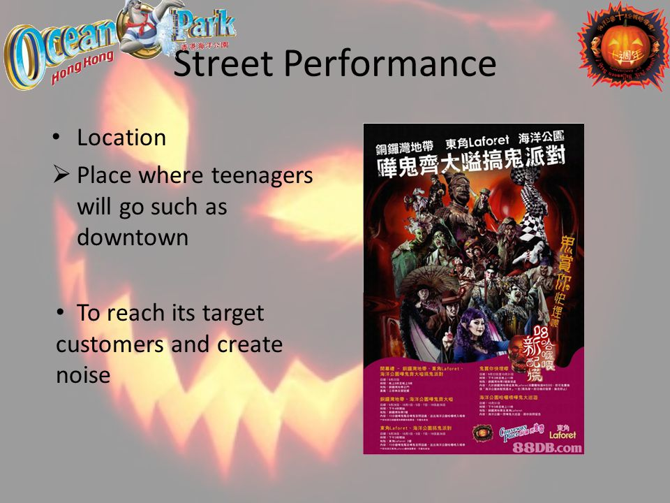 Street Performance Location Place where teenagers will go such as downtown To reach its target customers and create noise