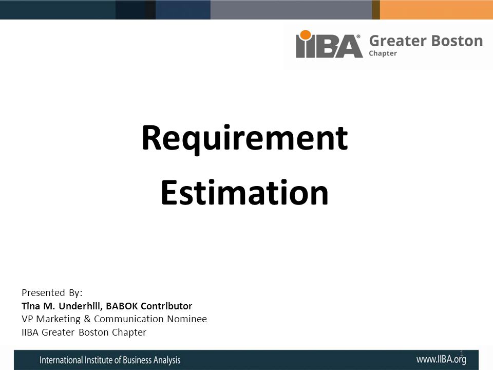 Requirement Estimation Presented By: Tina M. Underhill, BABOK Contributor VP Marketing & Communication Nominee IIBA Greater Boston Chapter 1