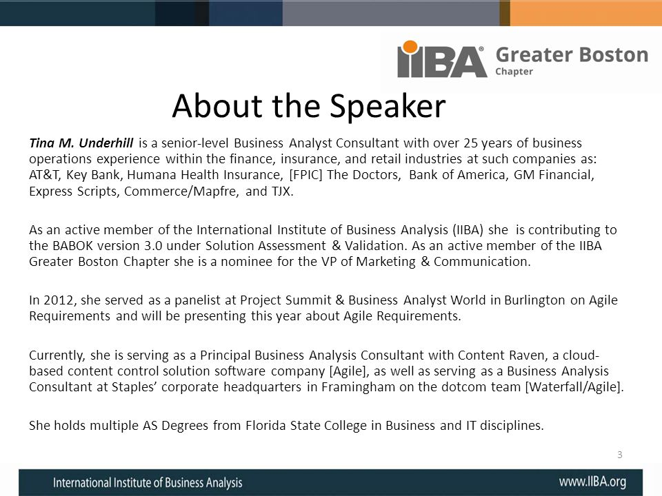 About the Speaker Tina M.