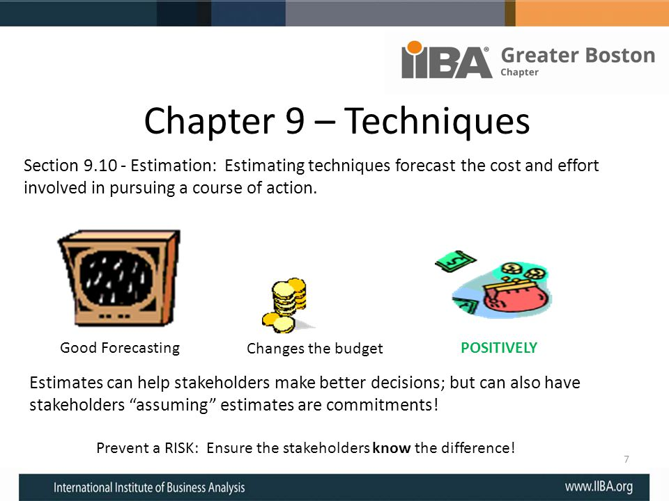Chapter 9 – Techniques Section 9.10 - Estimation: Estimating techniques forecast the cost and effort involved in pursuing a course of action. 7 Good F