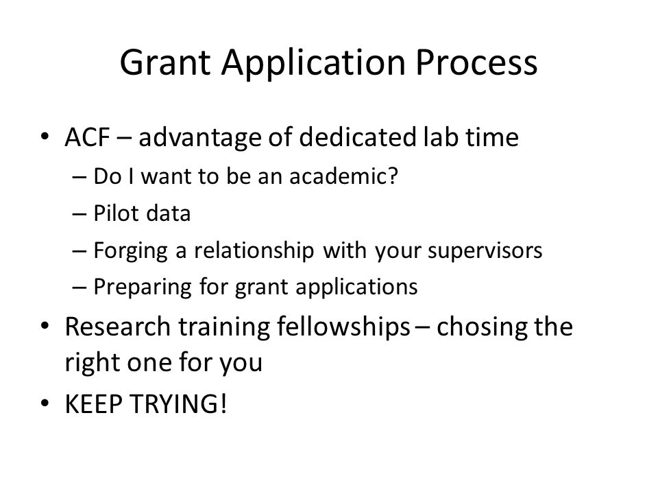Grant Application Process ACF – advantage of dedicated lab time – Do I want to be an academic? – Pilot data – Forging a relationship with your supervi