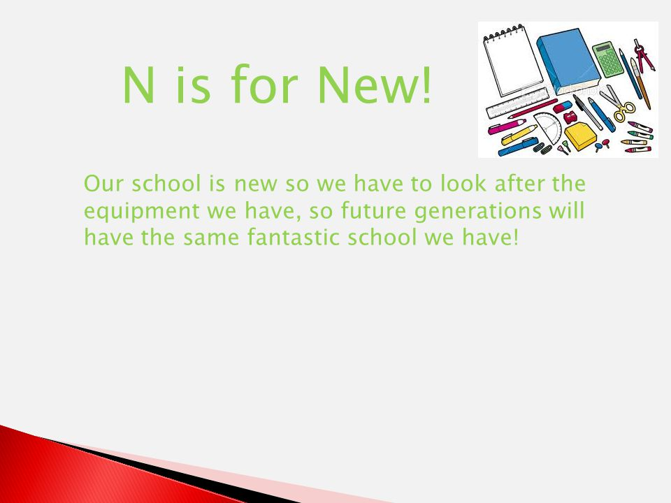 N is for New.