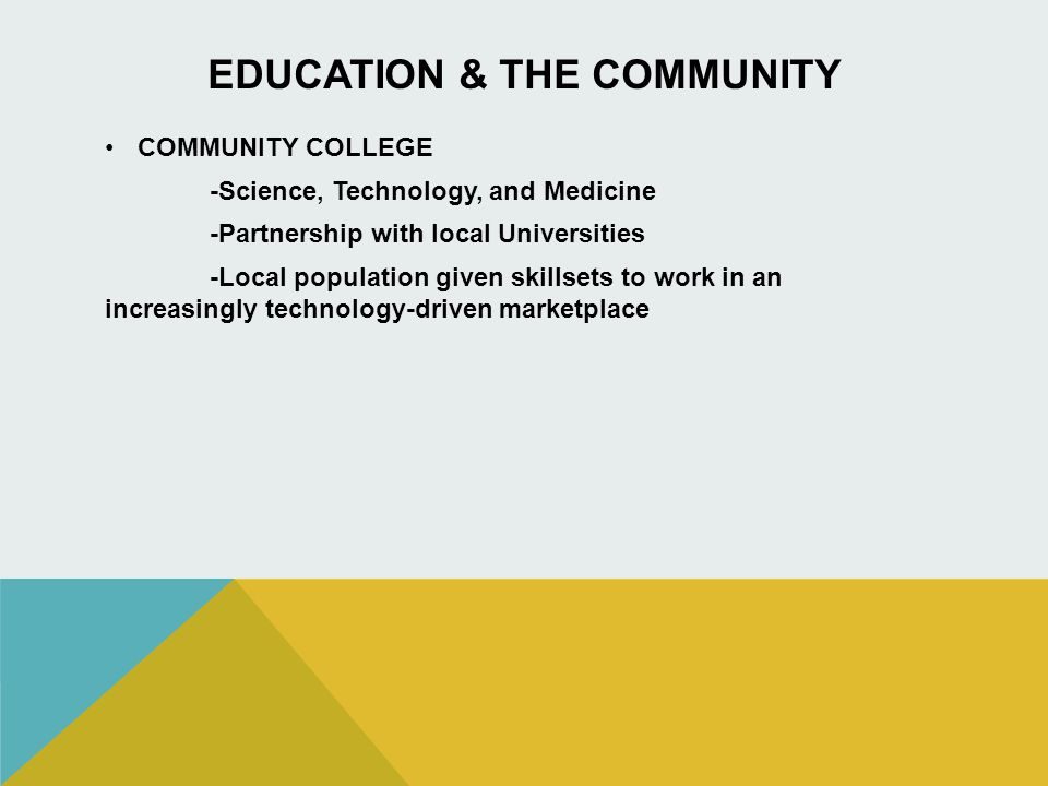 EDUCATION & THE COMMUNITY COMMUNITY COLLEGE -Science, Technology, and Medicine -Partnership with local Universities -Local population given skillsets to work in an increasingly technology-driven marketplace