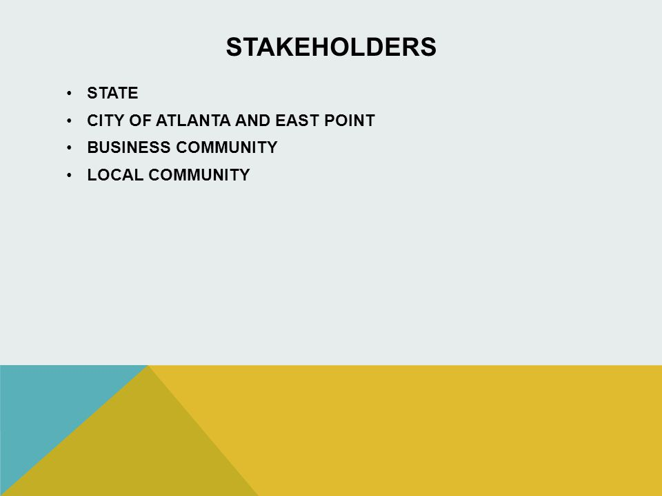 STAKEHOLDERS STATE CITY OF ATLANTA AND EAST POINT BUSINESS COMMUNITY LOCAL COMMUNITY