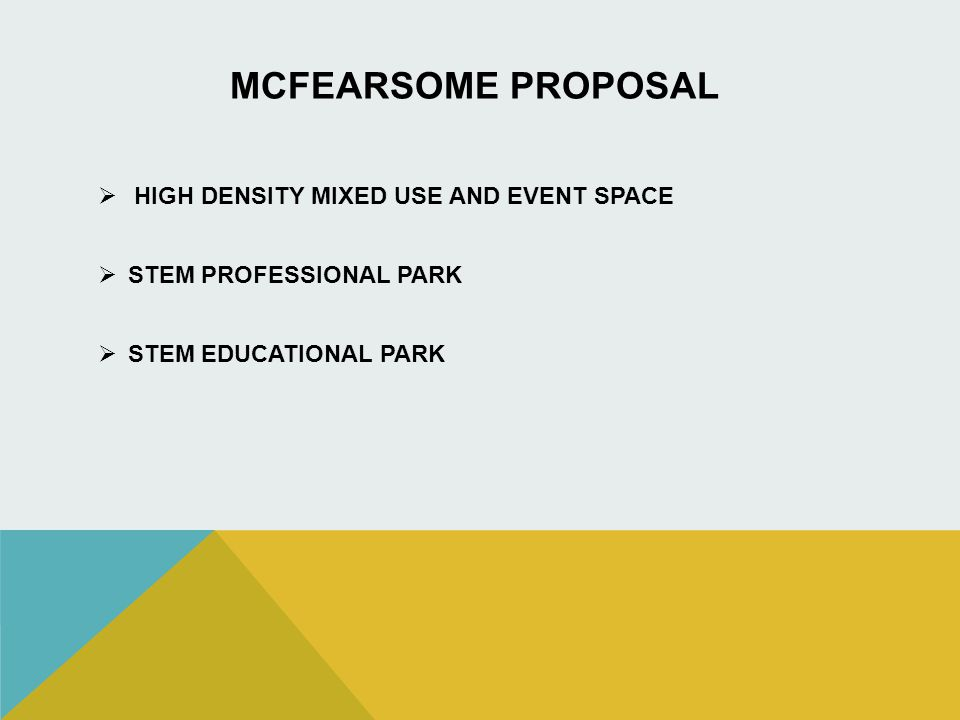 MCFEARSOME PROPOSAL HIGH DENSITY MIXED USE AND EVENT SPACE STEM PROFESSIONAL PARK STEM EDUCATIONAL PARK