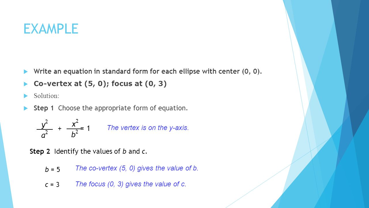 EXAMPLE Write an equation in standard form for each ellipse with center (0, 0). Co-vertex at (5, 0); focus at (0, 3) Solution: Step 1 Choose the appro