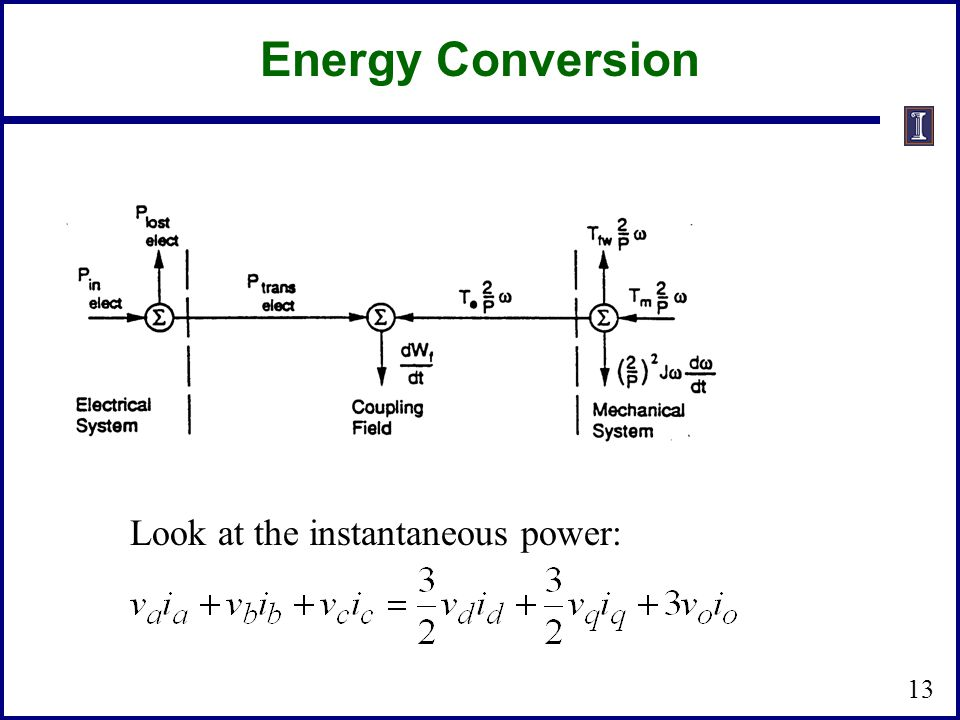 13 Energy Conversion Look at the instantaneous power:
