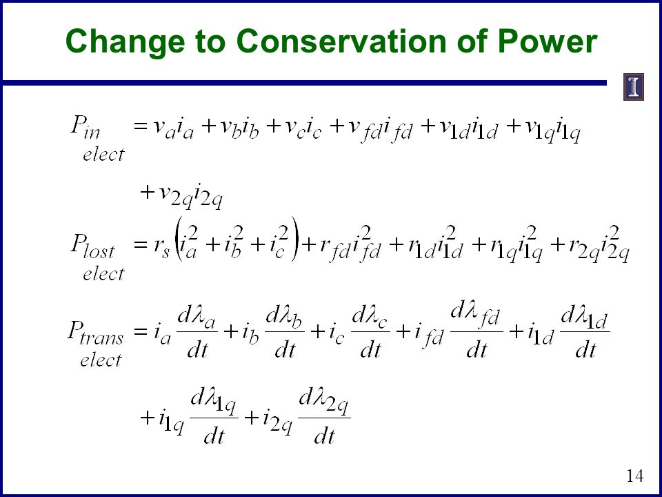 14 Change to Conservation of Power