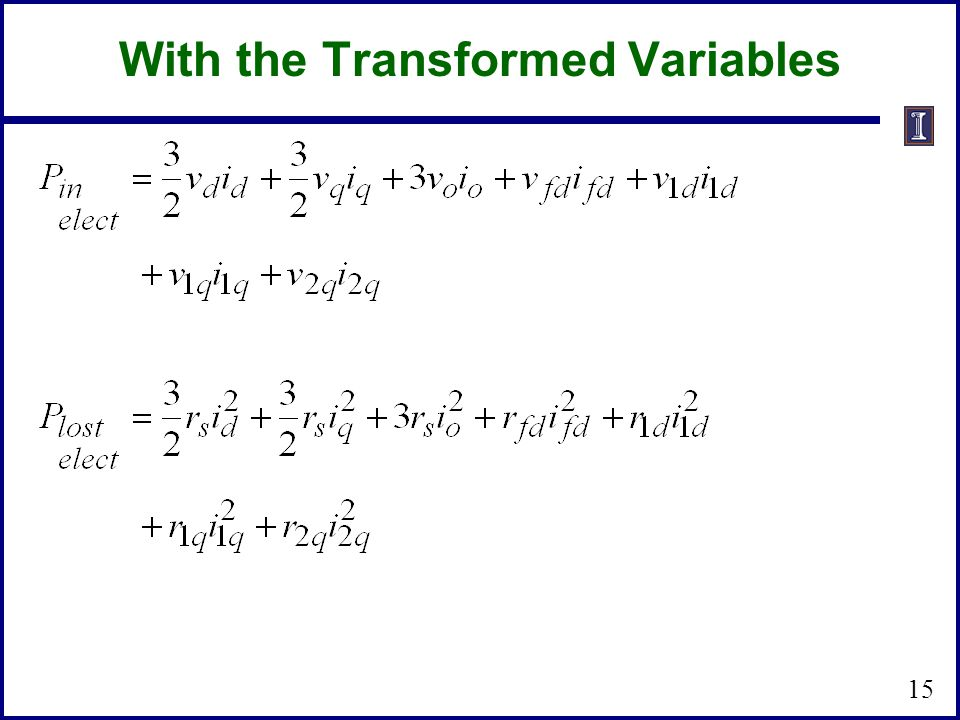 15 With the Transformed Variables
