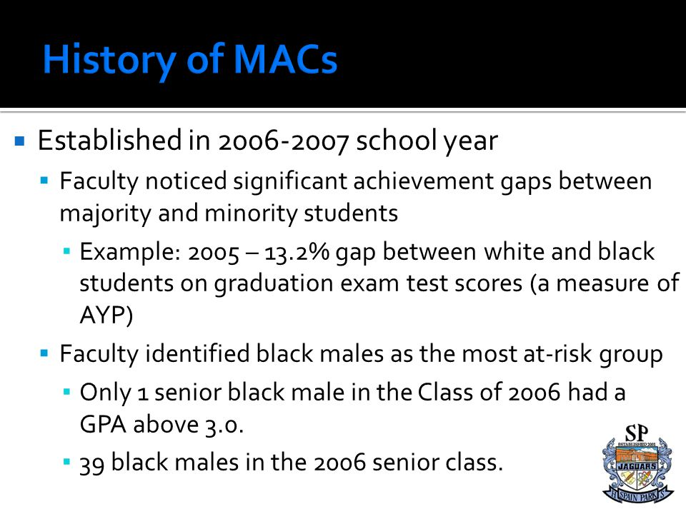 Established in 2006-2007 school year Faculty noticed significant achievement gaps between majority and minority students Example: 2005 – 13.2% gap bet