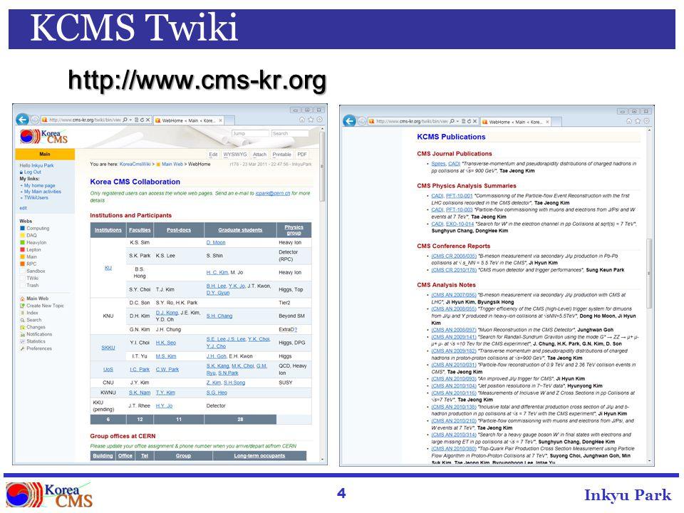 4 Inkyu Park KCMS Twiki http://www.cms-kr.org