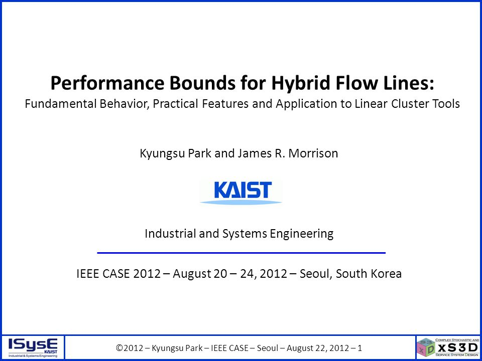 ©2012 – Kyungsu Park – IEEE CASE – Seoul – August 22, 2012 – 12 Upper Bound on Completion Times Example: c(w)=c(w-1) 1 2 No contention inside the system