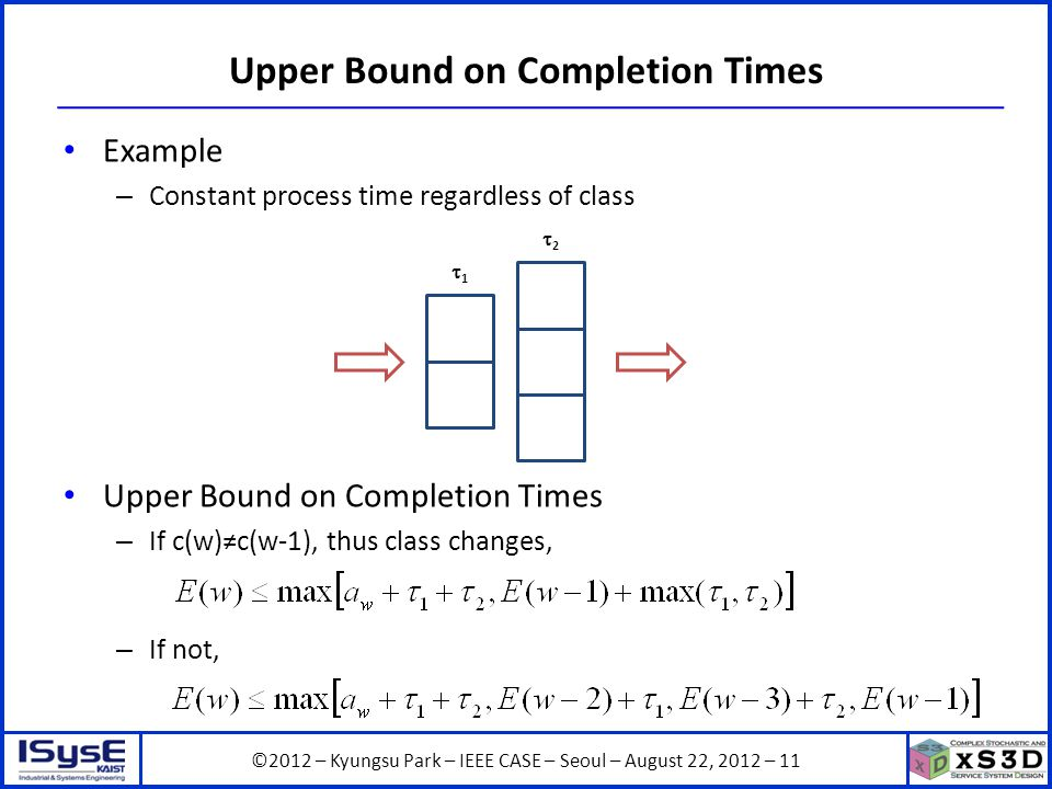 ©2012 – Kyungsu Park – IEEE CASE – Seoul – August 22, 2012 – 11 Upper Bound on Completion Times Example – Constant process time regardless of class Upper Bound on Completion Times – If c(w)c(w-1), thus class changes, – If not, 1 2