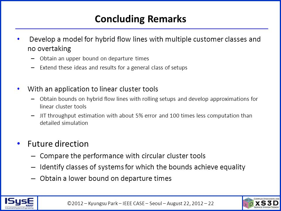 ©2012 – Kyungsu Park – IEEE CASE – Seoul – August 22, 2012 – 22 Concluding Remarks Develop a model for hybrid flow lines with multiple customer classes and no overtaking – Obtain an upper bound on departure times – Extend these ideas and results for a general class of setups With an application to linear cluster tools – Obtain bounds on hybrid flow lines with rolling setups and develop approximations for linear cluster tools – JIT throughput estimation with about 5% error and 100 times less computation than detailed simulation Future direction – Compare the performance with circular cluster tools – Identify classes of systems for which the bounds achieve equality – Obtain a lower bound on departure times