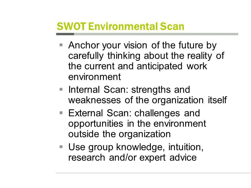 SWOT Environmental Scan Anchor your vision of the future by carefully thinking about the reality of the current and anticipated work environment Internal Scan: strengths and weaknesses of the organization itself External Scan: challenges and opportunities in the environment outside the organization Use group knowledge, intuition, research and/or expert advice