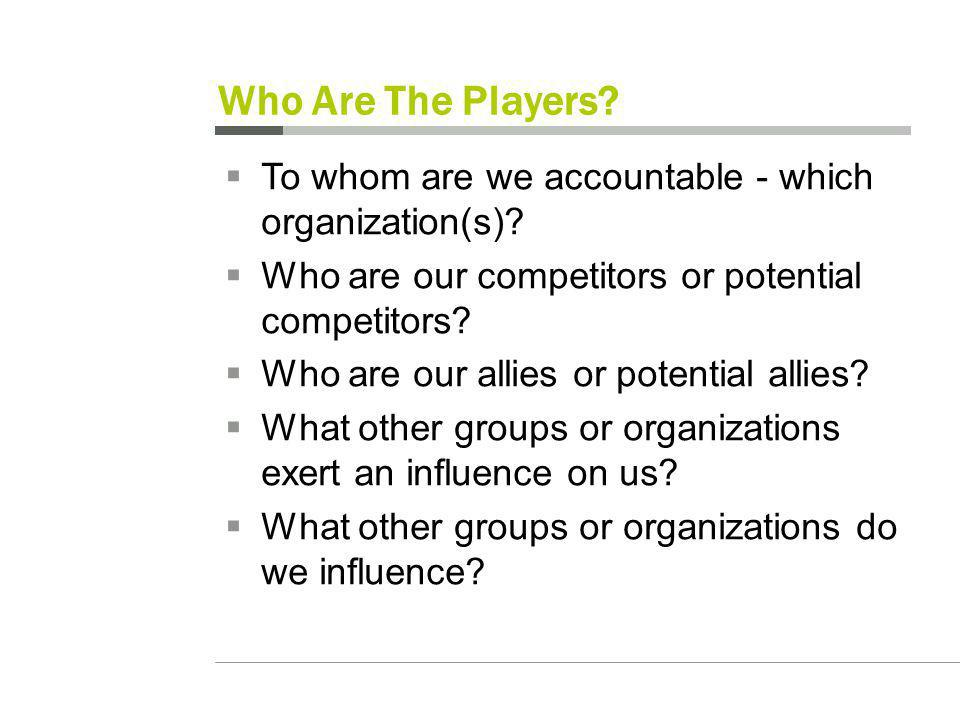 Who Are The Players. To whom are we accountable - which organization(s).