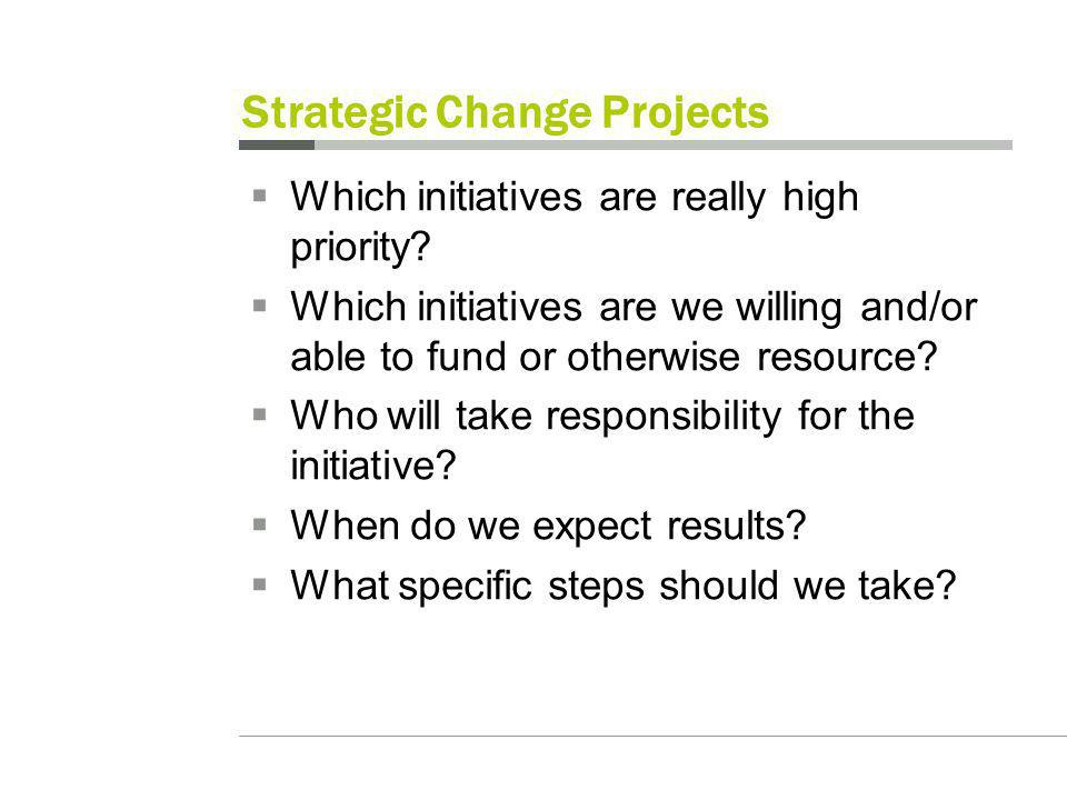 Strategic Change Projects Which initiatives are really high priority.