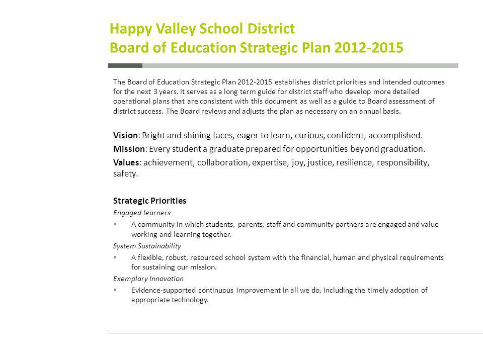Happy Valley School District Board of Education Strategic Plan The Board of Education Strategic Plan establishes district priorities and intended outcomes for the next 3 years.