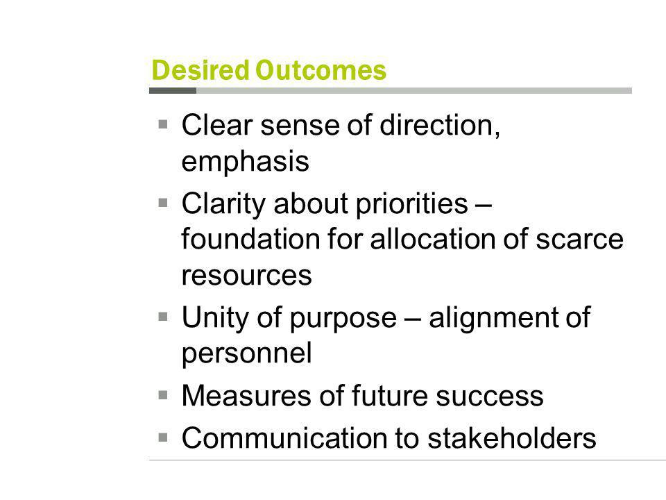 Desired Outcomes Clear sense of direction, emphasis Clarity about priorities – foundation for allocation of scarce resources Unity of purpose – alignment of personnel Measures of future success Communication to stakeholders
