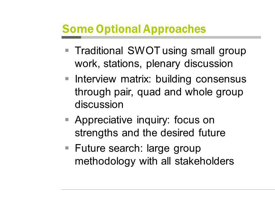 Some Optional Approaches Traditional SWOT using small group work, stations, plenary discussion Interview matrix: building consensus through pair, quad and whole group discussion Appreciative inquiry: focus on strengths and the desired future Future search: large group methodology with all stakeholders
